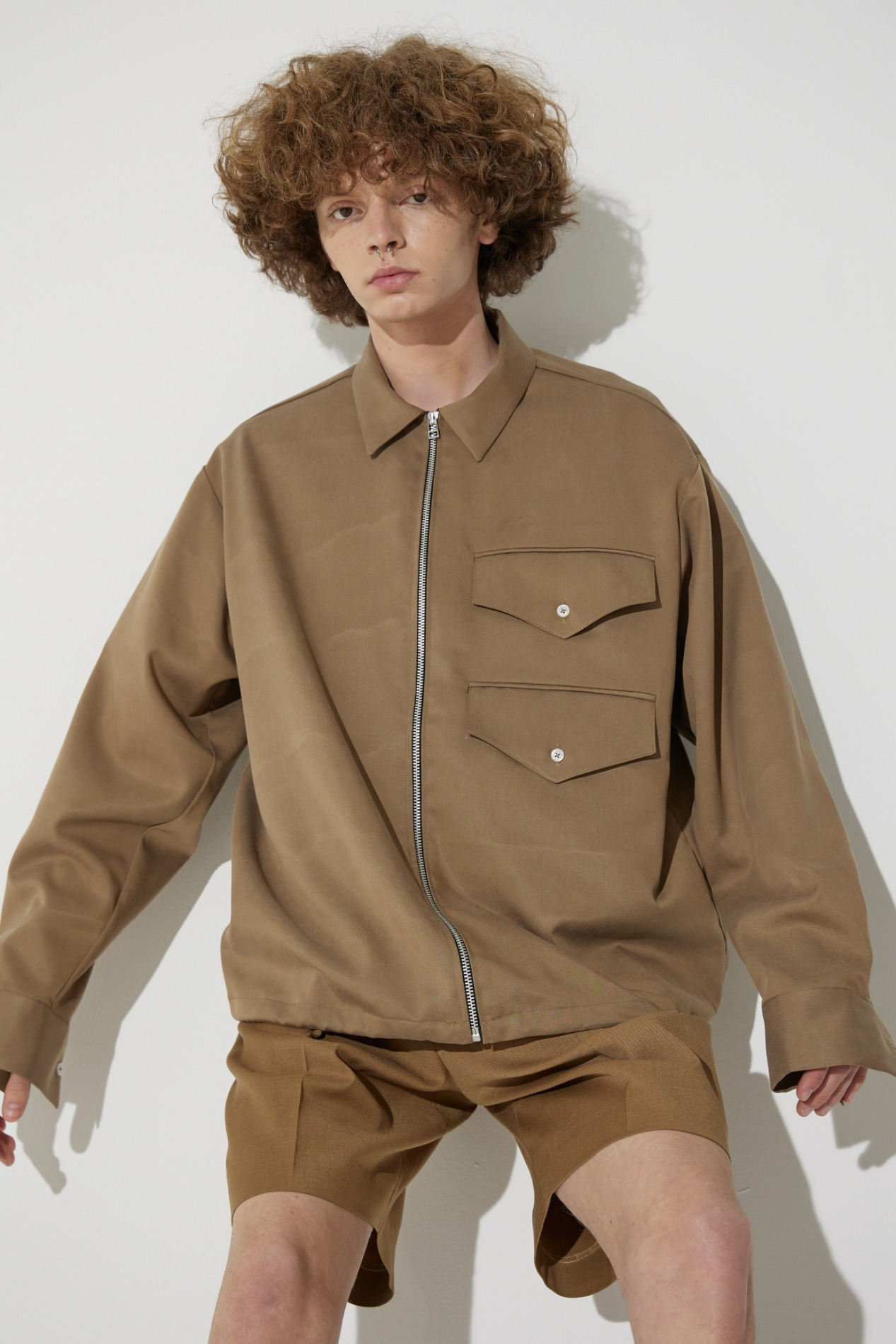 Zipper Two Pocket Shirts Jacket(Brown)