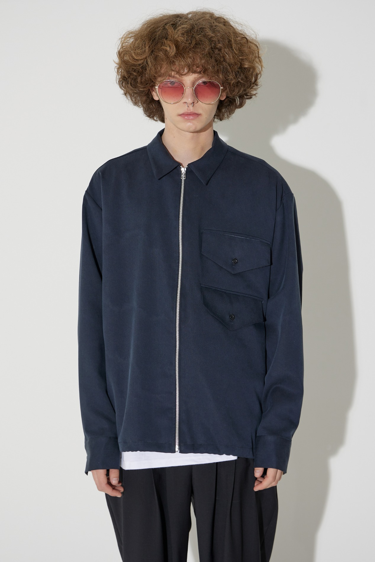 Zipper Two Pocket Shirts Jacket(Navy)