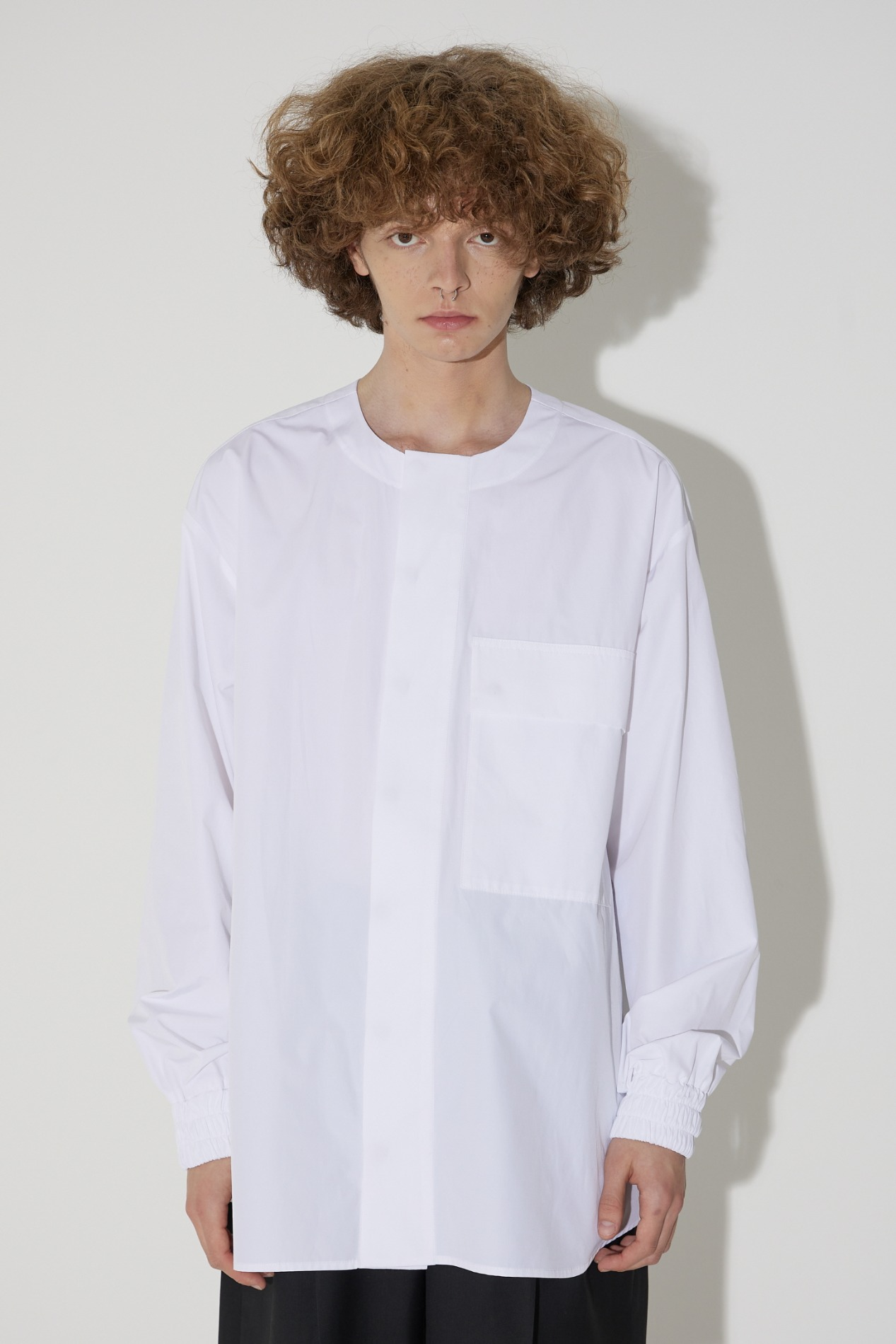 Collarless Big Pocket Shirt(White)